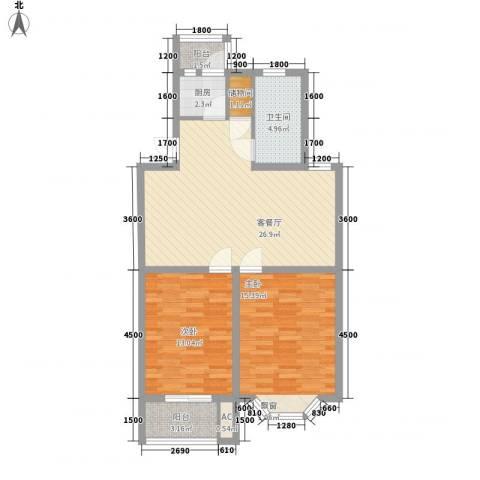 腾达雅苑2室1厅1卫1厨83.00㎡户型图