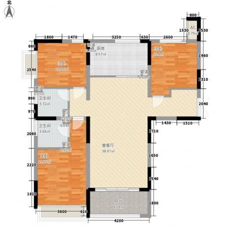 中国铁建领秀城3室1厅2卫1厨110.64㎡户型图