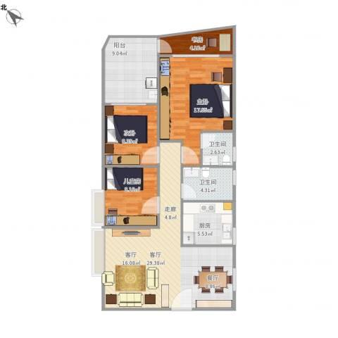 钰海名门4室1厅2卫1厨120.00㎡户型图