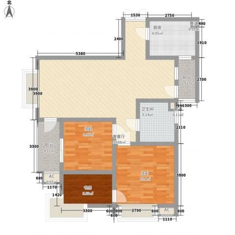 三丰公寓3室1厅1卫1厨109.00㎡户型图