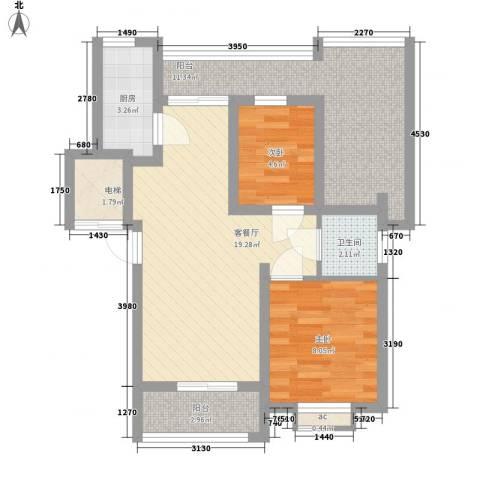 豪绅嘉苑2室1厅1卫1厨81.00㎡户型图
