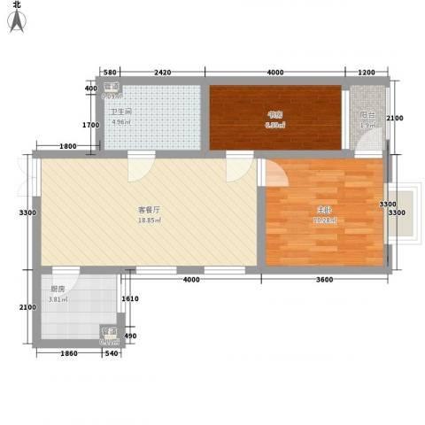 三丰公寓2室1厅1卫1厨66.00㎡户型图