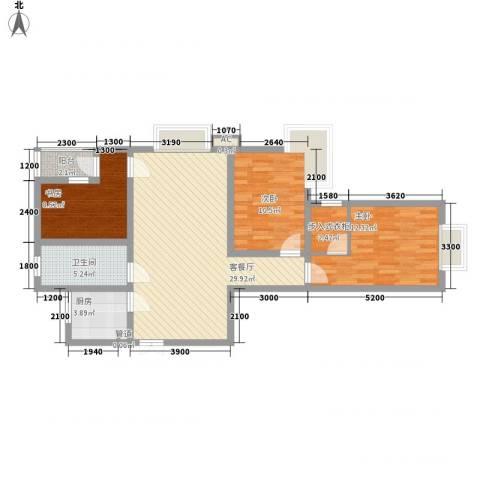 三丰公寓3室1厅1卫1厨105.00㎡户型图