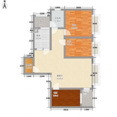三丰公寓3室1厅1卫1厨103.00㎡户型图