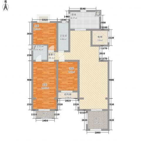 豪绅嘉苑3室1厅2卫1厨157.00㎡户型图