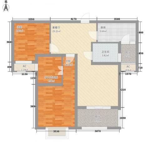 融侨观邸2室1厅1卫1厨93.00㎡户型图