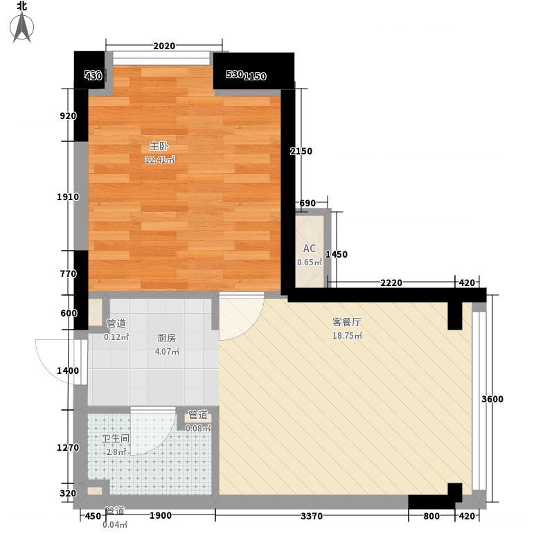 中海凯旋门50.00㎡户型1室1厅1卫1厨