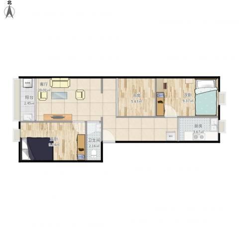六中宿舍3室1厅1卫1厨72.00㎡户型图