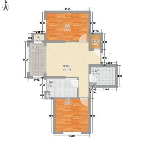 巴黎第五区2室1厅1卫1厨59.31㎡户型图
