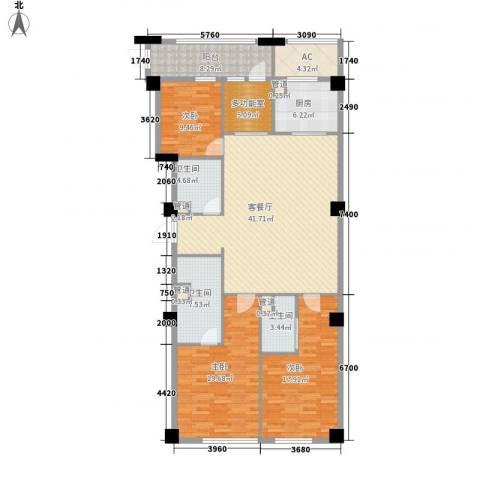 绿城�园3室1厅3卫1厨181.00㎡户型图