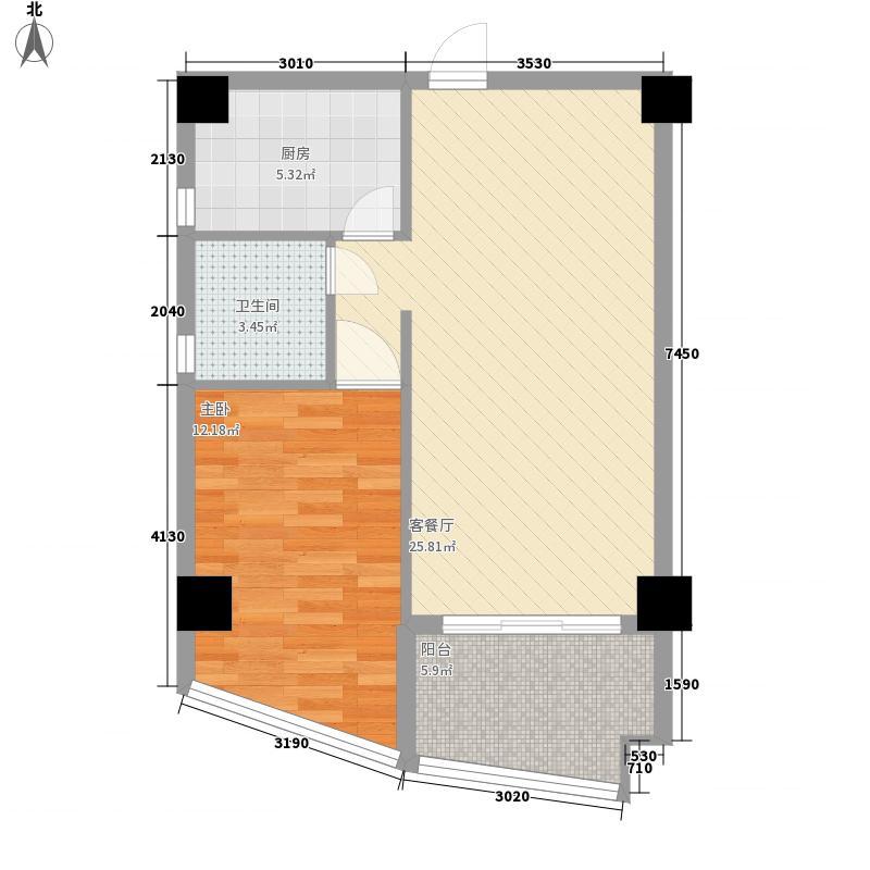 阳光城市花园二期75.00㎡阳光城市花园二期户型图C1室2厅1卫户型1室2厅1卫