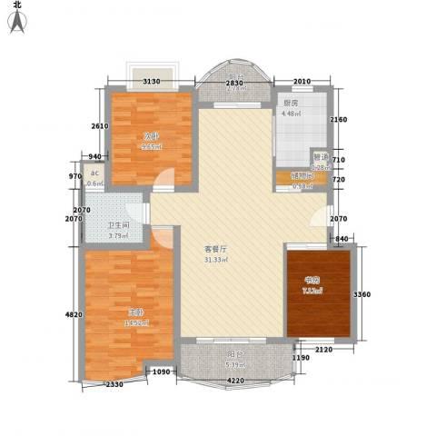翡翠上南别墅3室1厅1卫1厨116.00㎡户型图