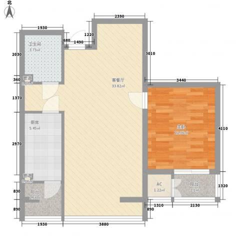 炫彩SOHO1室1厅1卫1厨87.00㎡户型图