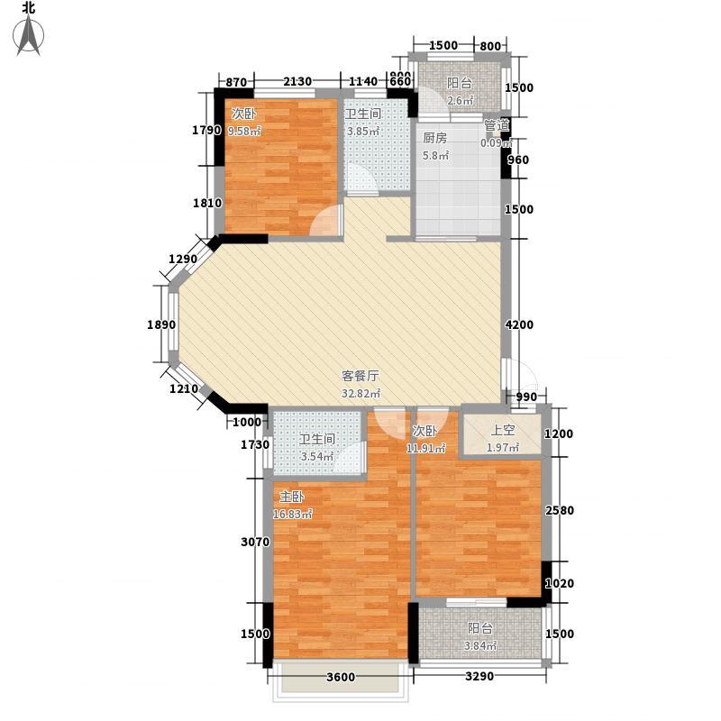 福港・好莱坞121.73㎡剪刀手1户型3室2厅2卫1厨