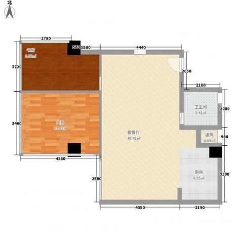潮人汇大厦2室1厅1卫0厨124.00㎡户型图