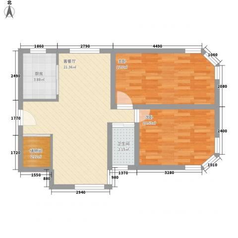 四方新城2室1厅1卫1厨76.00㎡户型图