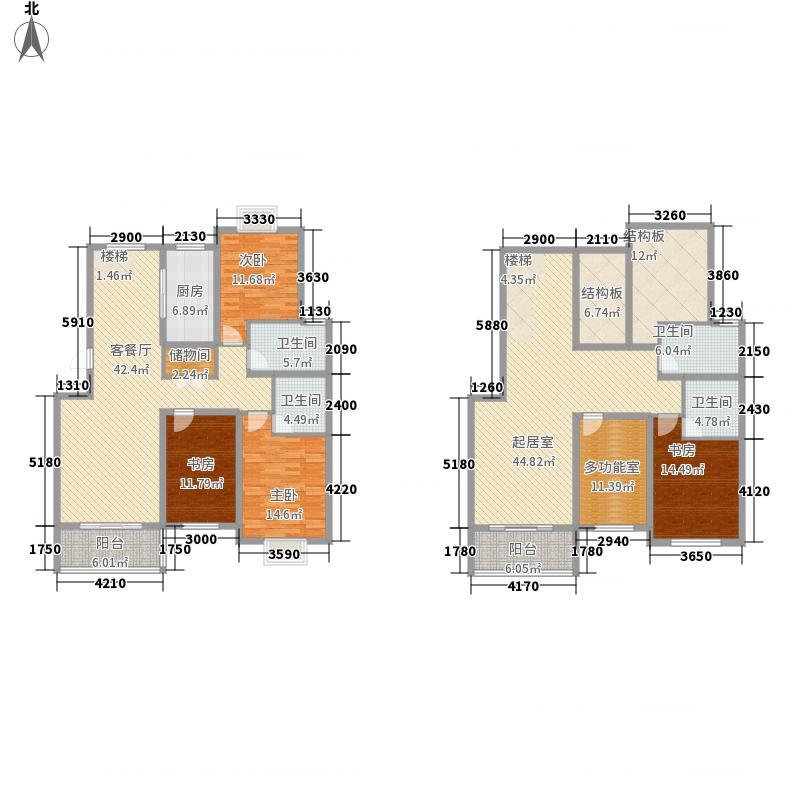 凯旋新城嘉苑226.00㎡凯旋新城嘉苑户型图G2复式户型5室3厅4卫1厨户型5室3厅4卫1厨