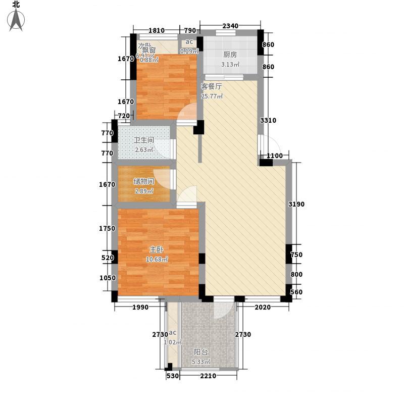 磨盘山8号86.00㎡一期洋房C二层户型2室2厅1卫