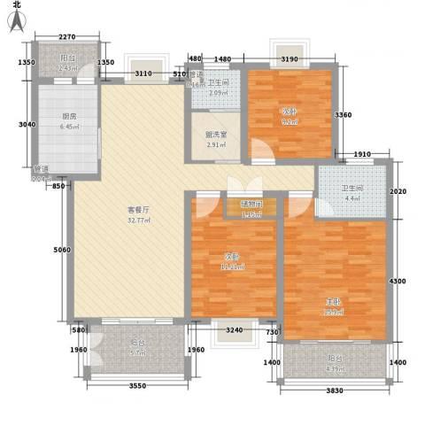 嘉贤庄3室1厅2卫1厨142.00㎡户型图