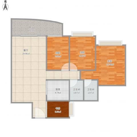 富逸上苑4室1厅2卫1厨113.00㎡户型图