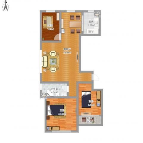 和谐家园3室1厅1卫1厨112.00㎡户型图