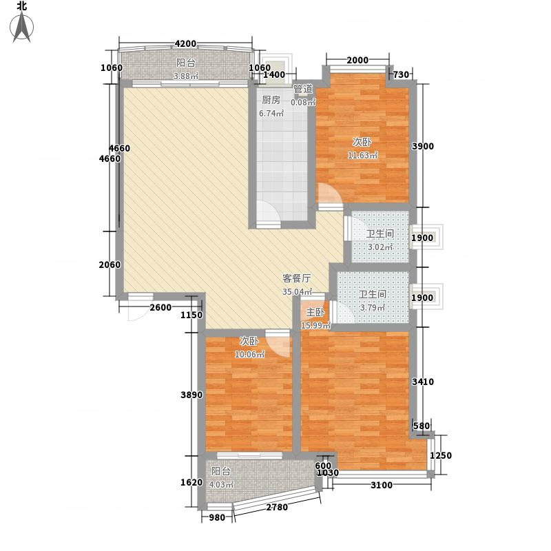 山水阳光城121.10㎡华光阁1#楼C户型3室3厅2卫1厨