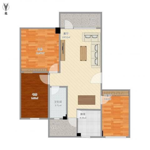 桦润馨居3室1厅1卫1厨96.00㎡户型图