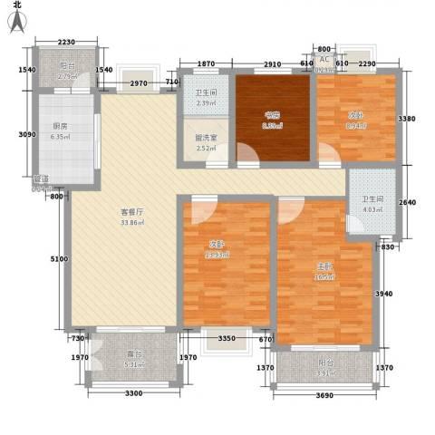 嘉贤庄4室1厅2卫1厨159.00㎡户型图