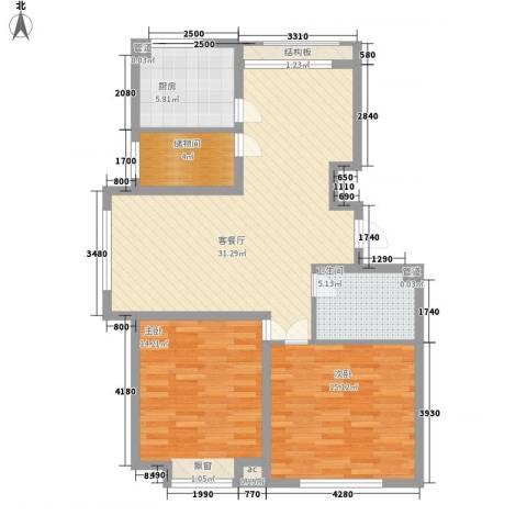 国信嘉邑2室1厅1卫1厨110.00㎡户型图