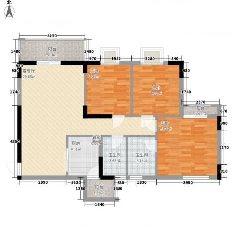 睿力上城3室1厅2卫1厨110.00㎡户型图