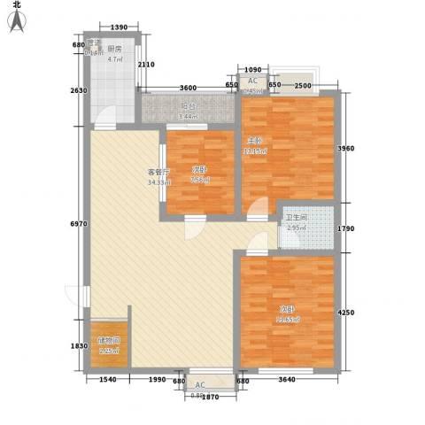 新旅城3室1厅1卫1厨114.00㎡户型图