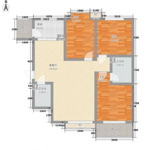 新旅城3室1厅2卫1厨124.00㎡户型图