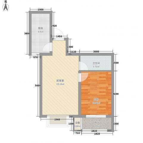学院1号1室0厅1卫1厨64.00㎡户型图