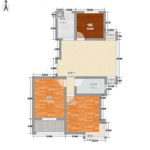 枫逸人家3室1厅1卫1厨102.00㎡户型图