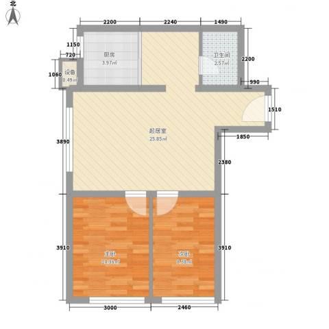 学院1号2室0厅1卫1厨72.00㎡户型图