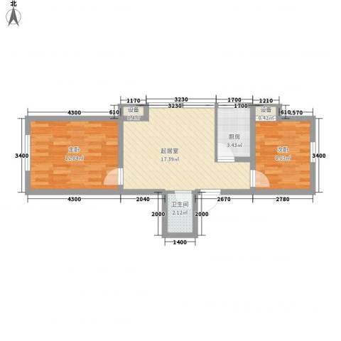 学院1号2室0厅1卫1厨66.00㎡户型图