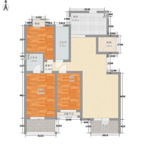 豪绅嘉苑3室1厅2卫1厨132.00㎡户型图