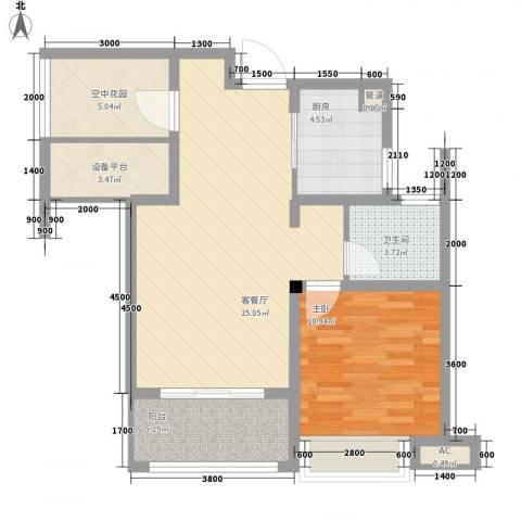 海亮九玺1室1厅1卫1厨86.00㎡户型图