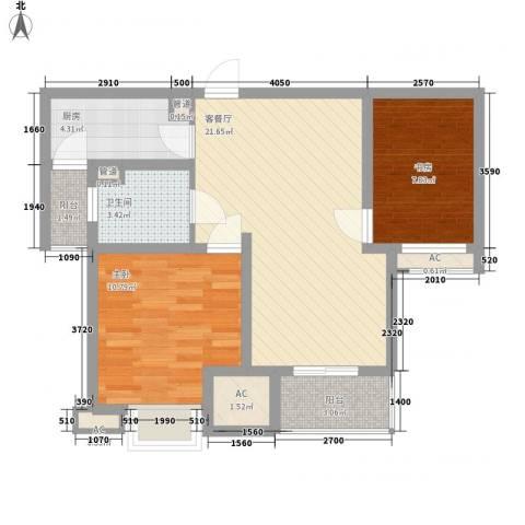 盛景华庭2室1厅1卫1厨82.00㎡户型图