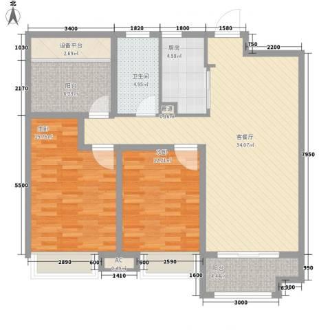 海亮九玺2室1厅1卫1厨124.00㎡户型图