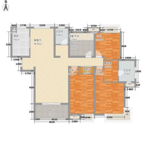 海亮九玺3室1厅2卫1厨188.00㎡户型图