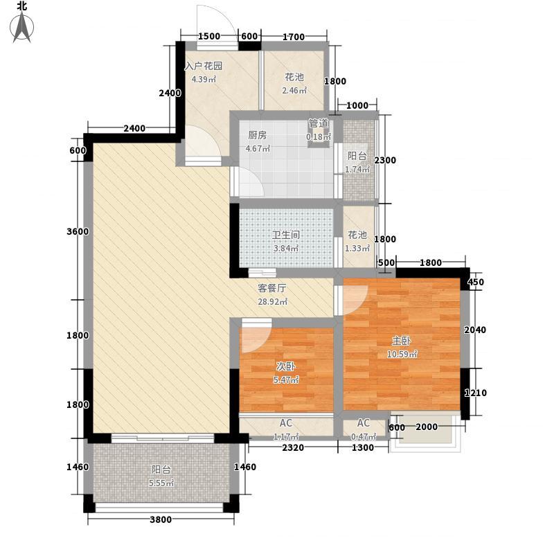 浅水湾半岛8.53㎡D2户型2室2厅1卫1厨