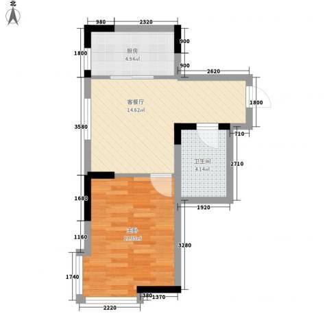 标点1室1厅1卫1厨57.00㎡户型图