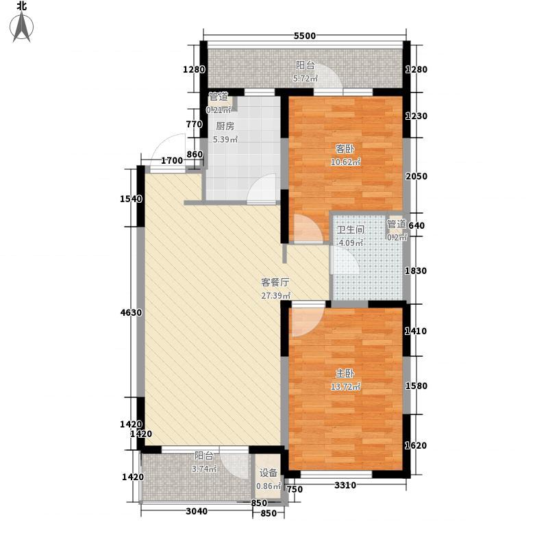 万科公园大道A3户型2室2厅1卫1厨