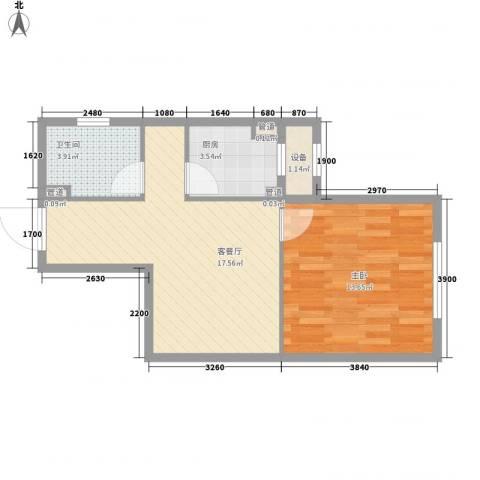银亿格兰郡1室1厅1卫1厨56.00㎡户型图