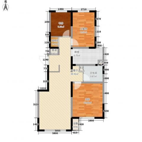 万科公园大道3室1厅1卫1厨71.82㎡户型图