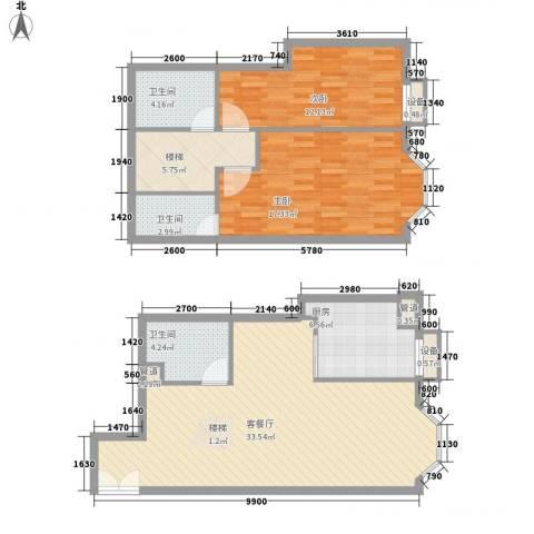 圣馨大地家园2室1厅3卫1厨124.00㎡户型图
