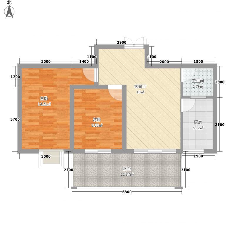 兴盛前城78.77㎡2B户型2室2厅1卫1厨