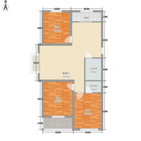 御品星城3室1厅2卫1厨117.00㎡户型图