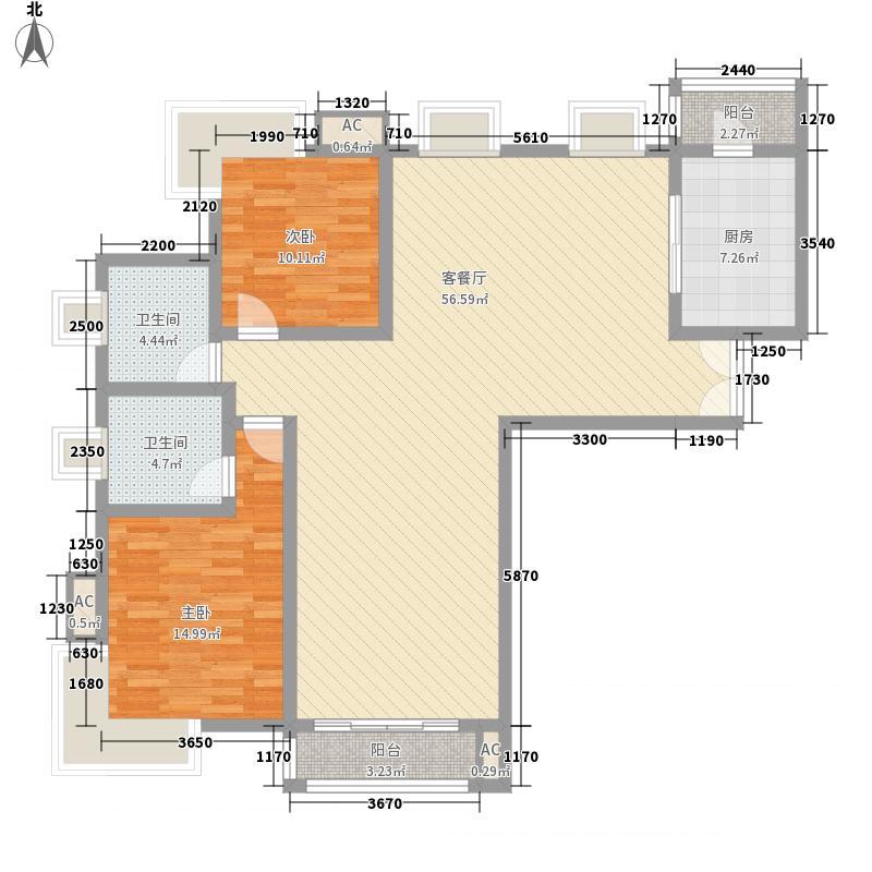 倚能黄河家园147.42㎡二期户型8户型3室2厅2卫1厨